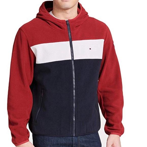 Details about Tommy Hilfiger Men's Navy Blazer Polar Logo Fleece Pullover Hoodie